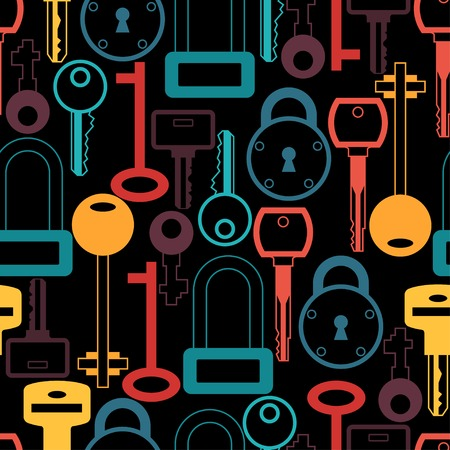 guard house: Seamless pattern with locks and keys icons.