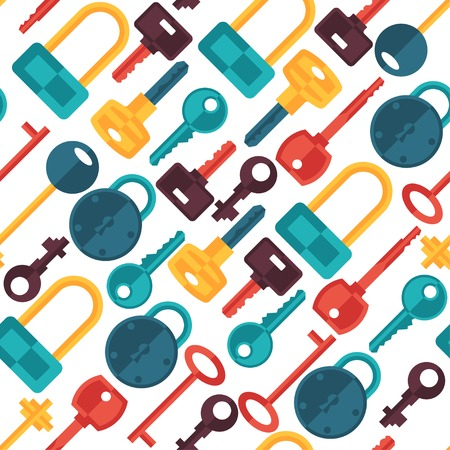 safe lock: Seamless pattern with locks and keys icons.