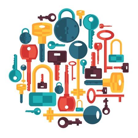 llaves: Dise�o del fondo con cerraduras y llaves iconos.