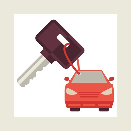 car keys: Illustration concept of auto loan in flat design style.