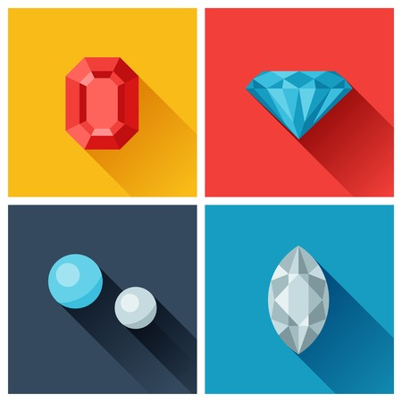 diamond background: Beautiful jewelry precious stones in flat design style. Illustration