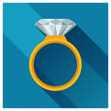 store sign: Ring with brilliant in flat design style.