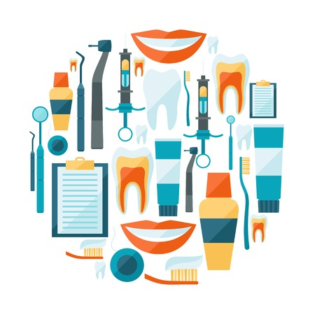 stomatology icon: Medical background design with dental equipment icons.