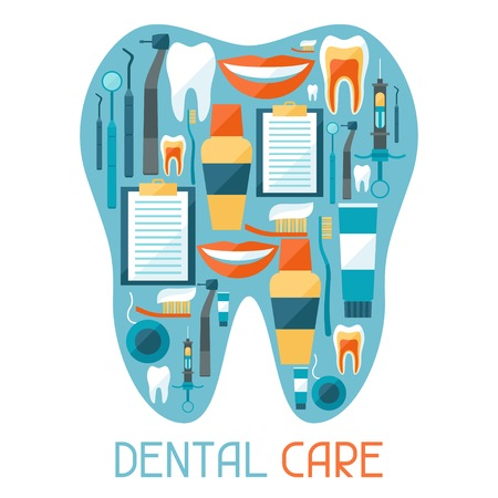 dental floss: Medical background design with dental equipment icons.