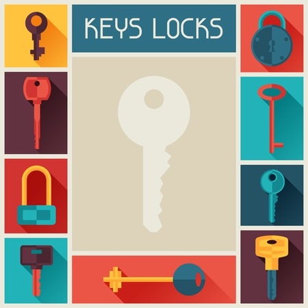 Background design with locks and keys icons. Vector