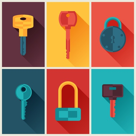 Locks and keys icons set in flat style. Vector