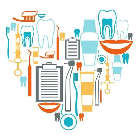 pinzas: Diseño Antecedentes médicos con Iconos de equipos dentales.