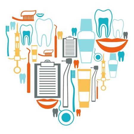 floss: Medical background design with dental equipment icons.