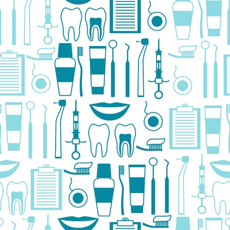 treatment: Medical seamless pattern with dental equipment icons.