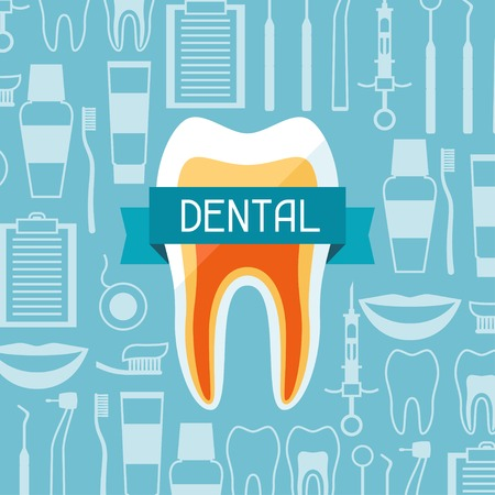dentist drill: Medical background design with dental equipment icons.