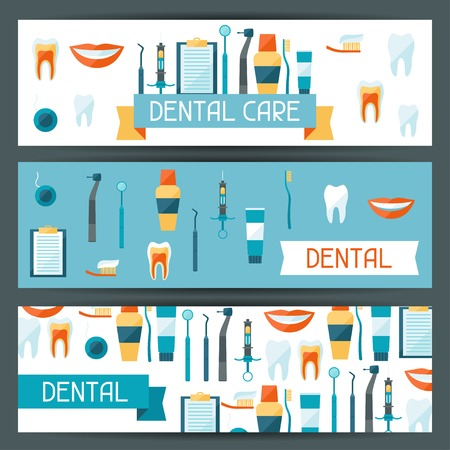 dental mirror: Medical banners design with dental equipment icons. Illustration