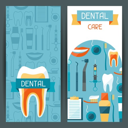 Medical banners design with dental equipment icons. Illustration