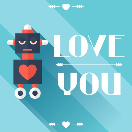 future advertising: Happy Valentines illustration in flat style.