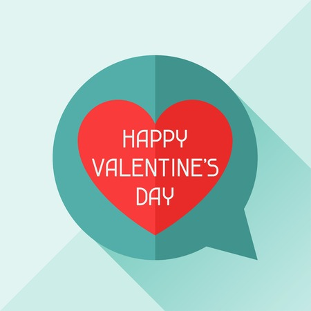 Happy Valentines illustration in flat style. Vector