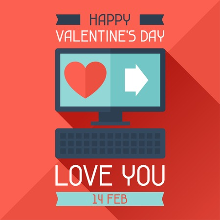 computer art: Happy Valentines illustration in flat style.