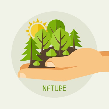 Охрана окружающей среды, экология концепции иллюстрация в плоском стиле. Иллюстрация