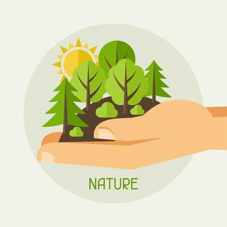 Protection de l'environnement, l'écologie concept illustration dans le style plat.