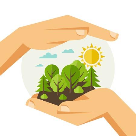 contaminacion ambiental: Protección del medio ambiente, la ecología concepto de ilustración en estilo plano. Vectores