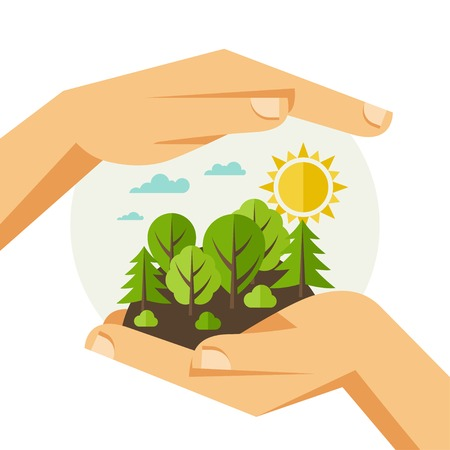 schutz: Umweltschutz, Ökologie Konzept Illustration in flachen Stil.