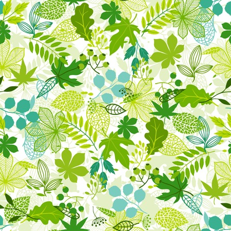 Seamless nature pattern with stylized green leaves.