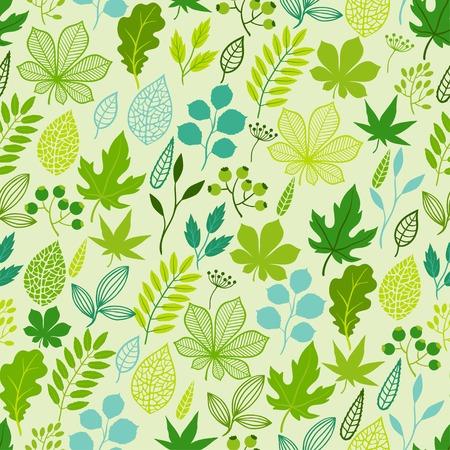 様式化された緑のシームレスな自然のパターンを残します。