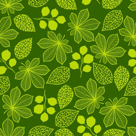 Seamless nature pattern with stylized green leaves. Vector
