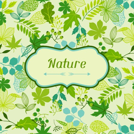 oak leaves: Background of stylized green leaves. Illustration