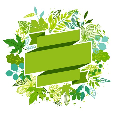 green banner: Background of stylized green leaves. Illustration