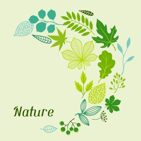 Background of stylized green leaves. Ilustrace