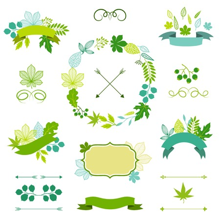 oak wreath: Set of stylized ribbons and labels.