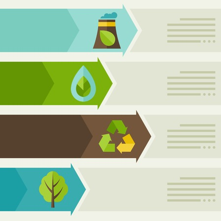 Ecology infographic with environment icons. Illustration