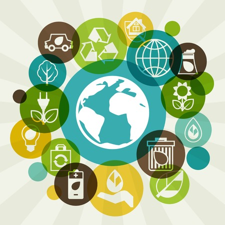 business environment: Ecology background with environment icons.