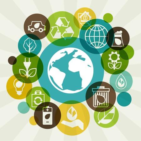 ecosistema: Fondo de la ecología con los iconos del ambiente.