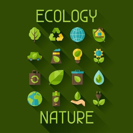 medio ambiente: Ecolog�a de conjunto de iconos de medio ambiente y la contaminaci�n. Vectores