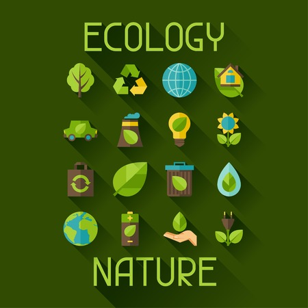 flat leaf: Ecology set of environment and pollution icons.