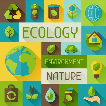 earth pollution: Ecology background with environment icons.