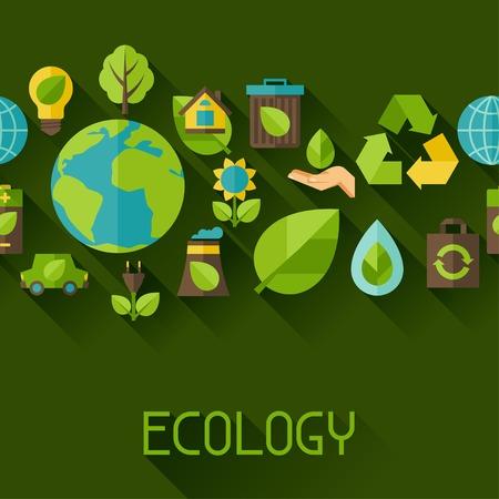 medio ambiente: Ecolog�a sin patr�n con los iconos del ambiente. Vectores