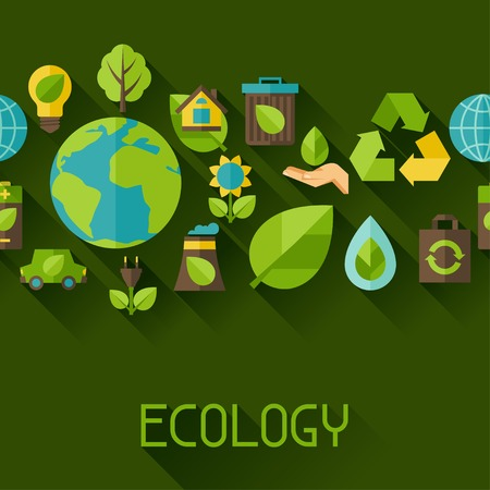 environment: Ecology seamless pattern with environment icons. Illustration