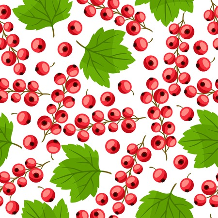 currants: Seamless nature pattern with red currants.