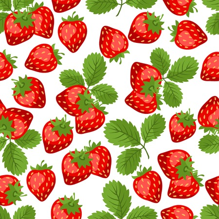 strawberry plant: Seamless nature pattern with strawberries.
