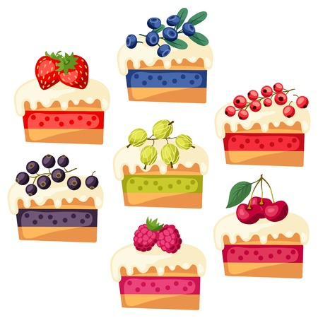 blueberry pie: Set of cakes with various filling. Illustration