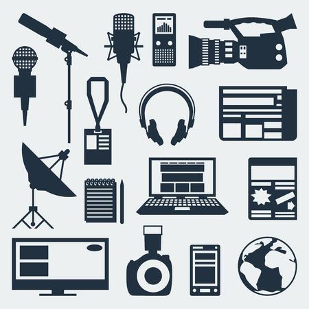 reportero: Conjunto de iconos del periodismo. Vectores