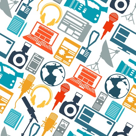 journalism: Seamless pattern with journalism icons. Illustration