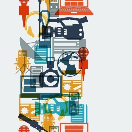 ジャーナリズムのアイコンとのシームレスなパターン。  イラスト・ベクター素材