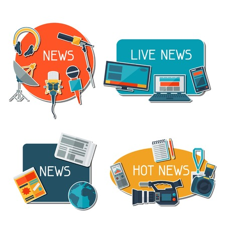 Stickers with journalism icons.