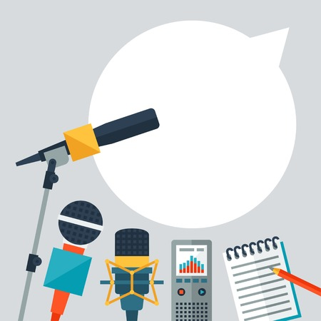 Background with journalism icons.