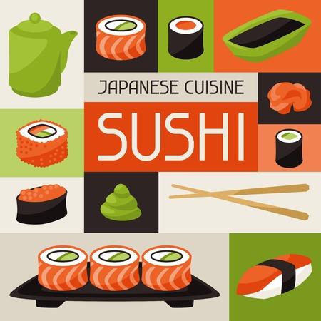 Background with sushi.