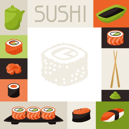 nigiri: Background with sushi.