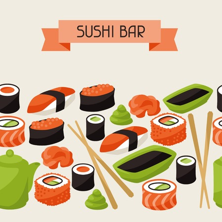 sushi chopsticks: Seamless pattern with sushi.