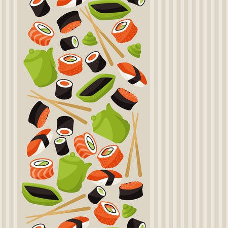 salmon dinner: Seamless pattern with sushi.
